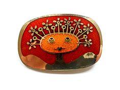 Modernist de Passille-Sylvestre Enamel Brooch, Quebec, Canada, Girl's Face, Flowers, Red, Orange, Gold