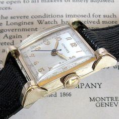 Mens 1948 Longines 14K SOLID GOLD Doctors Dial Fancy Lug 17j Vintage Swiss Watch #Longines #Dress