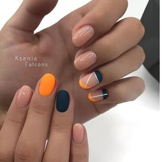 There are three kinds of fake nails which all come from the family of plastics. Acrylic nails are a liquid and powder mix. They are mixed in front of you and then they are brushed onto your nails and shaped. These nails are air dried. Orange Nail Designs, Gel Nail Designs, Nails Design, Almond Nail Art, Trendy Nail Art, Manicure E Pedicure, Manicure Ideas, Minimalist Nails, Orange Nails