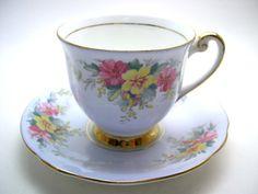 Windsor Yellow Tea Cup & Saucer, Light Blue tea cup and saucer with flowers, English tea cup and saucer set.