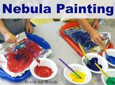 Brick by Brick: Exploring Nebula Painting Space Activities, Preschool Activities, Preschool Painting, Creative Curriculum, Vacation Bible School, Stargazing, Painting Brick, Exploring, Planets