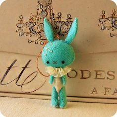 Turquoise bunny with beaded snowflake.   Need an affordable Christmas gift that looks expensive? GREAT PRICES on pre-owned 14k Jewelry at MedallionTradingCompany.com and use code 10PERCENT for 10% off