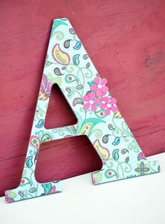decoupaged wooden letters cute enough for a nursery or sophisticated enough for a kitchen or mudroom