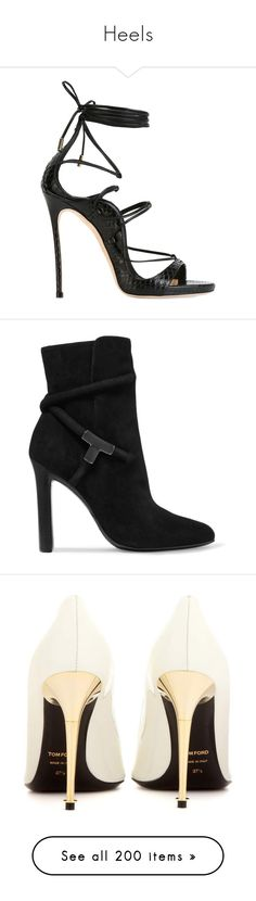 """""""Heels"""" by ieva-galvina ❤ liked on Polyvore featuring shoes, sandals, heels, black shoes, high heels, black, strappy sandals, black heeled sandals, strappy leather sandals and lace-up sandals"""