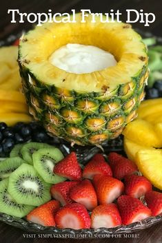 Tropical Fruit Dip by Simply Inspired Meals. Creamy and light fruit dip to serve with pineapple, mangos, kiwi, strawberries, blueberries or any fruit of your choice. Fruit Recipes, Summer Recipes, Appetizer Recipes, Cooking Recipes, Cooking Tips, Fruit Snacks, Party Food Platters, Fruit Platters, Fruit Buffet