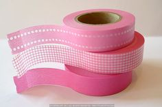 Japanese PINK Washi Tape- Pink Dot Grid Solid - Set of 3 from PrettyTape 147ft total on Etsy, $8.25