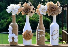 Twine wrapped wine bottles / Upcycled / by ArtisticallyAshley, $38.00