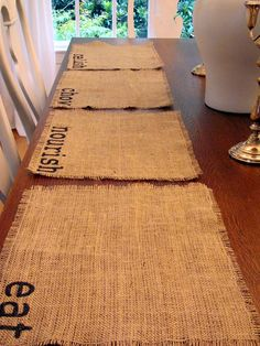 Burlap Place mats. So easy and cute!
