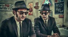 The Blues Brothers - artwork by Gianfranco Gallo Caricatures, Blues Brothers Movie, 1980s Films, Star Wars, Tough Guy, Blues Music, Por Tv, Funny People, Photo Manipulation