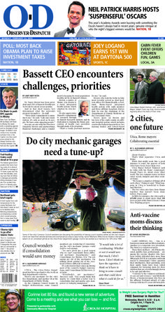 The front page for Monday, Feb. 23, 2015: Bassett CEO encounters challenges, priorities