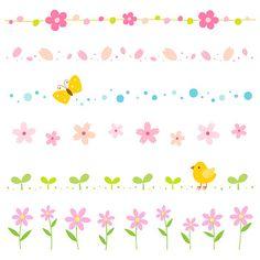 Spring, elements, border, frame Bullet Journal Mental Health, Doodle Lettering, Baby Flower, Japan Design, Sticky Notes, Book Illustration, Doodles, Stickers, Scrapbook
