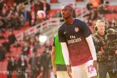Sanogo Warms Up Before Match vs Liverpool in the FA Cup 2013-2014.