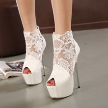 Drop shipping 2016 summer black and white sexy lace high heels shoes for party…