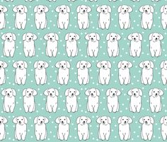 Cute White Puppy - Pale Turquoise by Andrea Lauren fabric by andrea_lauren on Spoonflower - custom fabric