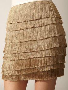 robert rodriguez silk tiered fringe skirt