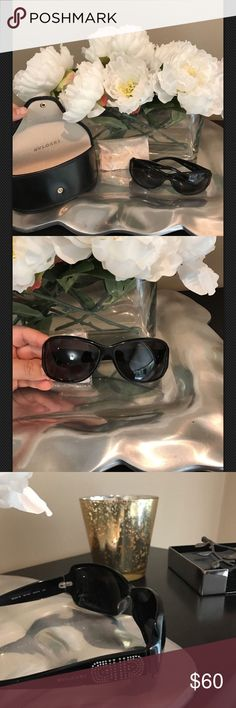 BVLGARI sunglasses Very good used condition. See photos for details. 1 tiny stone missing on each temple (same spot). See photo for measurements. Included photo on to give size reference. Beautiful & Authentic. This is a re-posh. I purchased several pairs & can only keep one do these have to go. BVLGARI Accessories Sunglasses