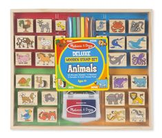 Melissa & Doug Deluxe Wooden Stamp Set, Animal Stamps (Colored Washable Ink Pads, Develops Hand-Eye Coordination, 38 Pieces, Great Gift for Girls and Boys - Best for 6 Year Olds and Up) Ruby Rose, Toys R Us, Thing 1, Decorate Notebook, Art Case, Stamp Pad, Wooden Animals, Melissa & Doug, Creative Play