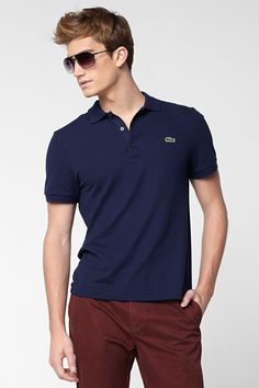 gamesinfomation.com Lacoste Polo Shirt, Short Sleeve Slim Fit Pique Polo Navy Blue Shirt coupon| gamesinfomation.com