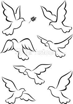 Illustration about Illustration of simple dove symbol. Illustration of leaf, card, animal - 21762505 Bird Drawings, Pencil Art Drawings, Easy Drawings, Dove Drawing, Peace Drawing, Drawing Art, String Art, Bird Art, Painted Rocks