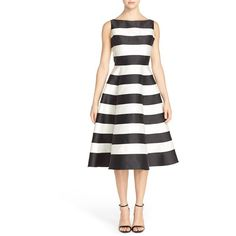 Adrianna Papell Stripe Mikado Fit & Flare Dress (250 CAD) ❤ liked on Polyvore featuring dresses, boatneck dress, shining dress, white sleeveless dress, fit & flare dress and striped dress