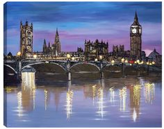 A signed limited edition boxed canvas of 150 by contemporary cityscape artist, Paul Kenton entitled City Nights Paul Kenton, City Painting, Watercolor Painting, City Landscape, London Art, Night City, Environmental Art, City Art, Paintings For Sale