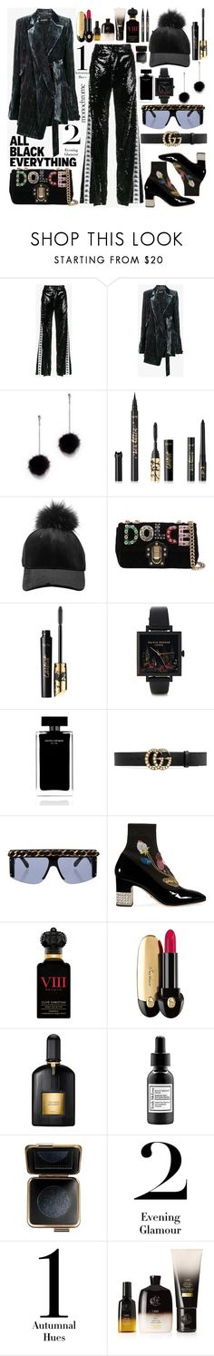 """Monochrome: All Black Everything"" by merrygorounds ❤ liked on Polyvore featuring Faith Connexion, Ann Demeulemeester, New York & Company, tarte, Dolce&Gabbana, Olivia Burton, Narciso Rodriguez, Gucci, Chanel and Clive Christian"