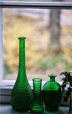 Green bottles from flea market via Cici