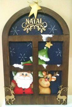 Placa de Porta Caixa para panetone Noel para batente de porta Janelinha natalina  ...