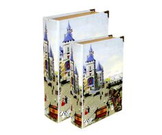 Storage Book - Village Scene (Set of 2)   The Village Scene Storage Book is an attractive storage alternative. A magnetic storage container designed to look like a fashionable book with a variety of stylish covers, perfect for displaying on coffee tables, shelves or sideboards.  Comes in a set of 2 books.  Small Book Size  Height : 26.5cm Width : 17cm Depth : 5cm  Large Book Size  Height : 33.5cm Width : 22cm Depth : 7cm