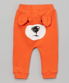 This Leighton Alexander Orange Bear Face Pants - Infant & Toddler by Leighton Alexander is perfect! #zulilyfinds