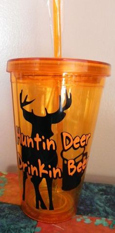 Hunting Deer Drinking Beer Tumbler Cup Man Cave Masculine on Etsy, $12.89 CAD