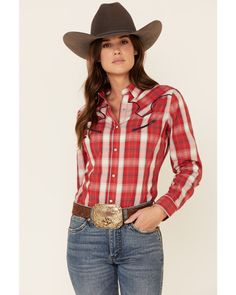 Country Outfits, Western Outfits, Western Shirts, Western Wear, Western Riding, Button Down Outfit, Estilo Country, Plaid Outfits, Red Plaid