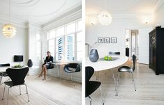 PH Snowball pakabinamas šviestuvas. Dizainas Poul Henningsen. design attractor: Clean and Simple Apartment in Aarhus