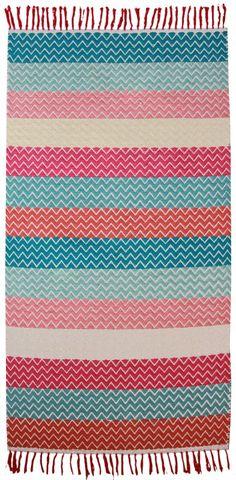 Kinderteppich bunt gestreift, Lili tissé main candy, aus reiner Baumwolle, 80 x 150 cm, von Nattiot