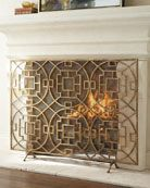 """Pyra"" Fireplace Screen at Horchow. A variety of geometric shapes combine to make this hand-wrought fire screen as decorative as it is functional. Home Living, My Living Room, Fireplace Accessories, Home Accessories, Decorative Fireplace Screens, Fireplace Mantle, Fireplace Cover, Gold Fireplace Screen, Fireplace Guard"