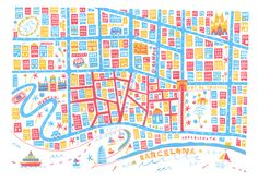 Barcelona map by Steph Marshall, via Behance
