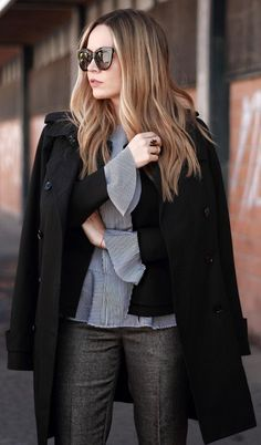 #winter #outfits /  Black Coat // Striped Shirt // Black Knit // Dark Grey Pants