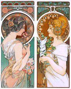 """Alphonse Mucha, """"Plume et Primevere"""" (""""Quill and Primrose"""")"""