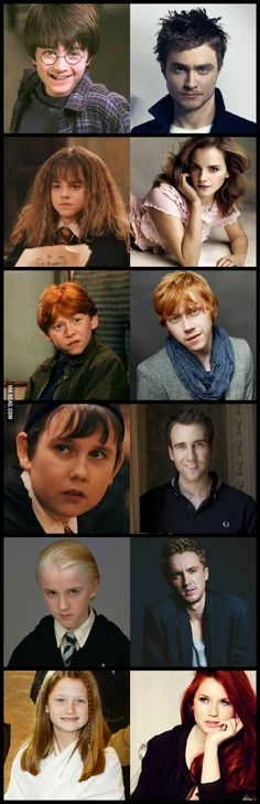 Funny pictures about Harry Potter then and now. There's magic involved here. Oh, and cool pics about Harry Potter then and now. There's magic involved here. Also, Harry Potter then and now. There's magic involved here. Harry Potter World, Mundo Harry Potter, Harry Potter Actors, Harry Potter Love, Harry Potter Fandom, Hermione Granger, Ginny Weasley, Hogwarts, Harry Potter Movies