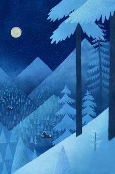 by Chuck Groenink Winter landscape night illustration