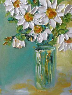 Original Oil Painting impasto Daisy Flowers by IronsideImpastos More