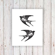 Swallow tattoos are a real classic. These vintage swallows are flying in opposite directions so you could place them together or at, for example, both shoulders! ......................................