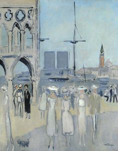 Kees van Dongen - La Piazzetta, Venise, 1921 - Oil on Canvas Modern Artists, French Artists, Xi Pan, Art Fauvisme, Gouache, Maurice De Vlaminck, Raoul Dufy, Andre Derain, Dutch Painters