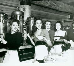 Linda Darnell (2nd From Left) & Claire James (3rd From Left) And Other Hostesses Serve Coffee At The Hollywood Canteen