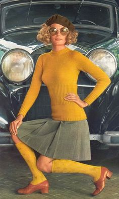 late 1960s mustard yellow and brown tweed sweater and skirt, knee high socks and shoes. fashion color print ad model magazine 60s beret vintage car