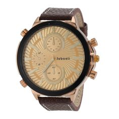 Sale 26% (7.99$) - JUBAOLI 1198 Big Dial Leather Band Quartz Watch