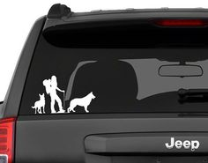 Decal vehicle window sticker -  Woman hiker with two german shepherd dogs