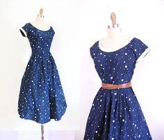 s a l e 1950s Dress / 50s Dotty Dancing Dress / Taffeta.