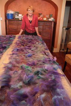 Studio 907: More Textile Adventures - Nuno Felting the Batiked Fabric
