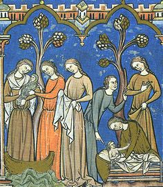 Simple women's dresses From the Maciejowski / Morgan Bible (13th c. French)